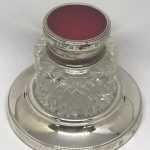 Silver Inkwell & Stand With Guilloche Enamelled Top