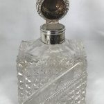 Rectangular Cut Glass Scent Bottle With Silver Hinged Top